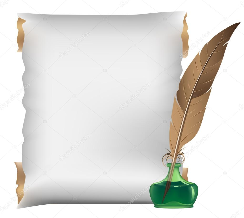 Scroll, feather and inkwell