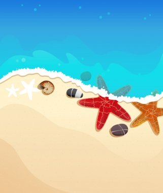 Sea beach with starfishes