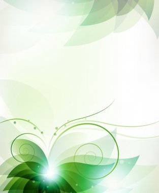 Transparent green flower. Abstract floral card with place for text clip art vector