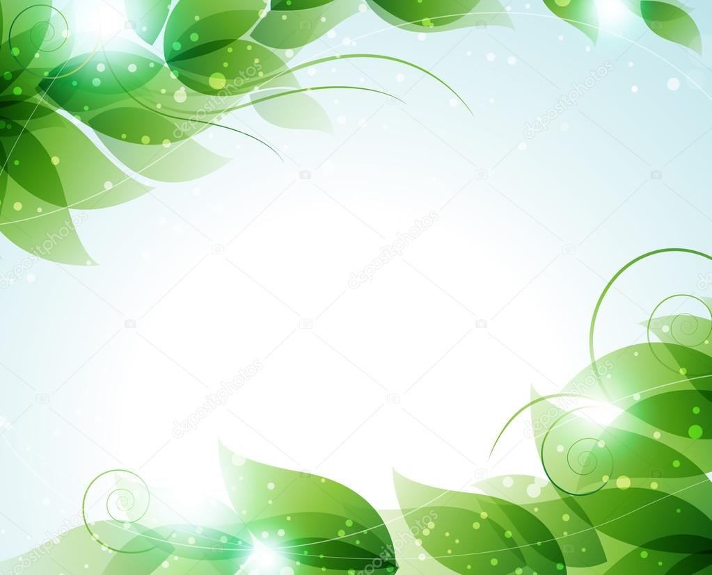Green leaves on a blue background