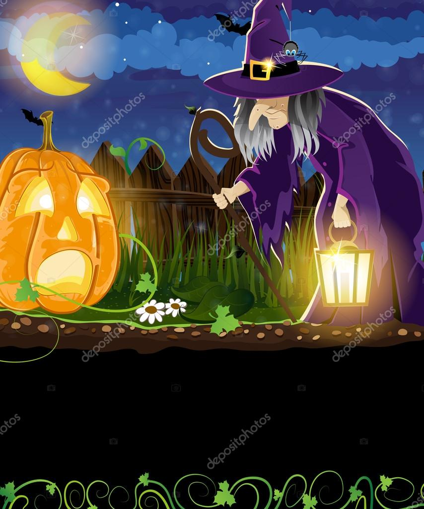 Wicked witch and Jack o Lantern