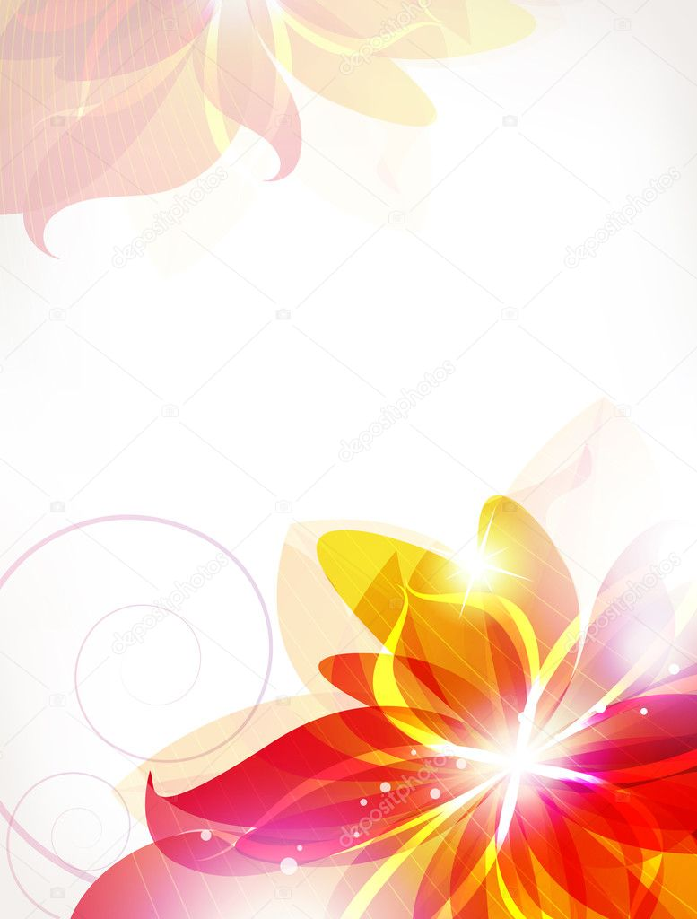Abstract orange flowers background
