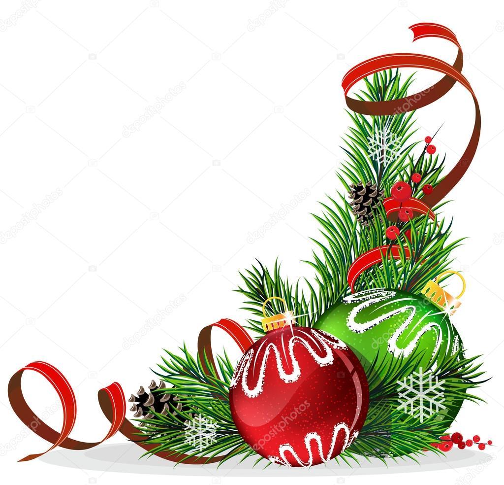 Bolas del rbol de navidad con cinta roja vector de for Cintas de navidad