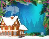 Fotografia Casa Natale nella foresta invernale