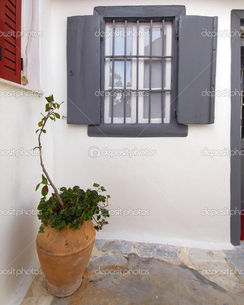 Facciata della casa con finestra persiane grigie e vasi di for Disegno finestra con persiane