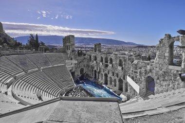 Ancient Greek theatre under Acropolis of Athens, Greece