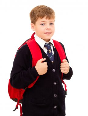 Schoolboy standing with his backpack.