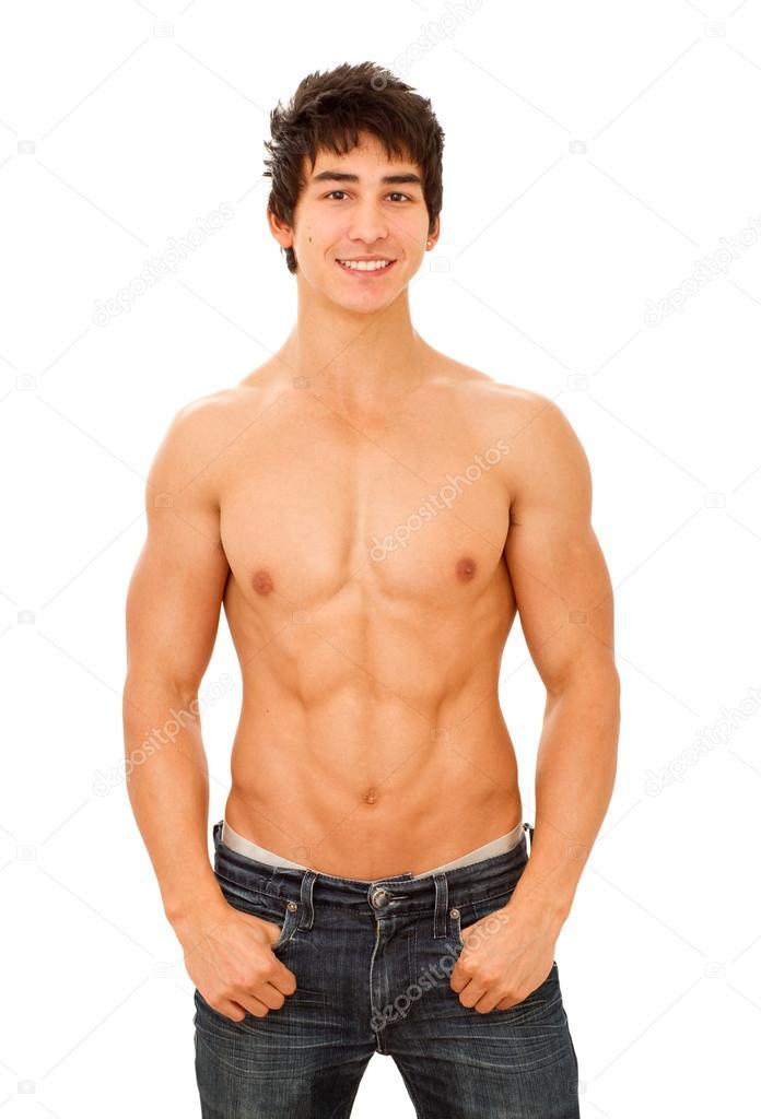 souriant beau jeune homme musclé et bronzé torse nu photographie