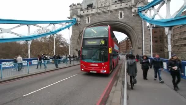 Bus on Tower Bridge in London, UK