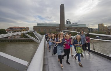Tourists on Millennium Bridge