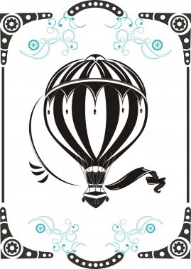 Steampunk style frame and vintage hot air balloon clip art vector