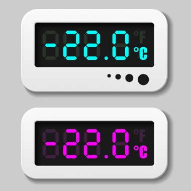 glowing digital thermometer icons