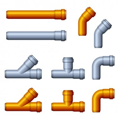 PVC sewer pipes orange gray