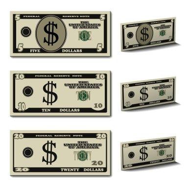 five ten twenty dollar banknotes