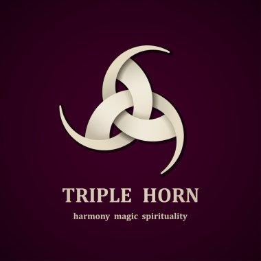 celtic triple horn symbol design template
