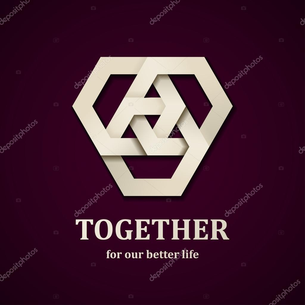 together paper icon design template