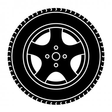 car wheel black white symbol