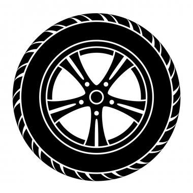 car wheel black white symbol