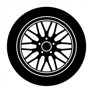 car aluminum wheel black white symbol