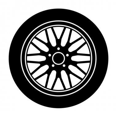 Car aluminum wheel black white symbol - illustration for the web stock vector