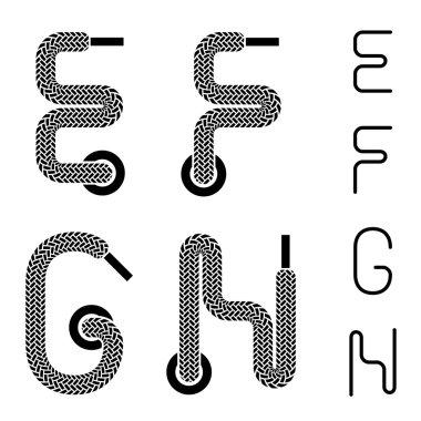 shoe lace alphabet letters E F G H