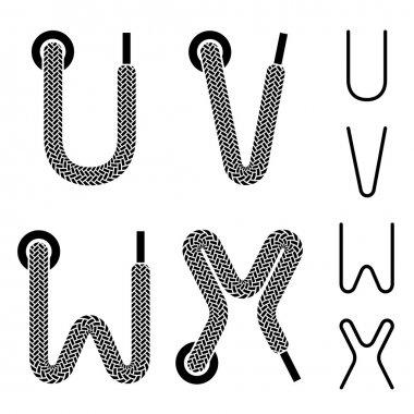 shoe lace alphabet letters U V W X