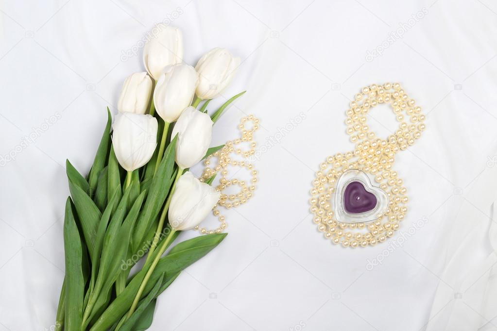 white tulips on silk