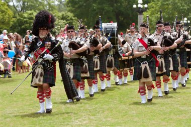 Bagpipes Band Marches And Plays At Spring Festival