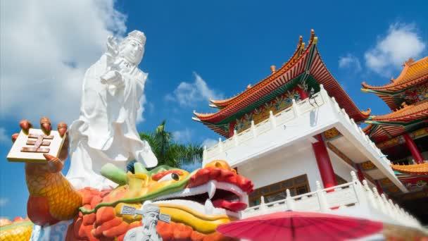 Idő telik Guan Yin szobor a nagy sárkány szobor a kínai templom