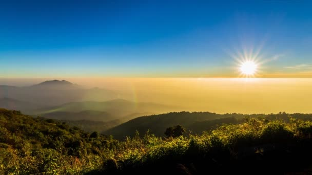 Time lapse sunset on valley at doi inthanon national park of chiang mai, thailand