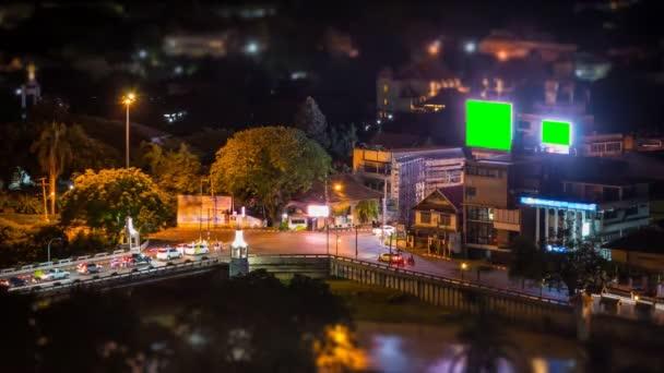 Time Lapse Crossroads Traffic And Big LED Green Screen Billboard