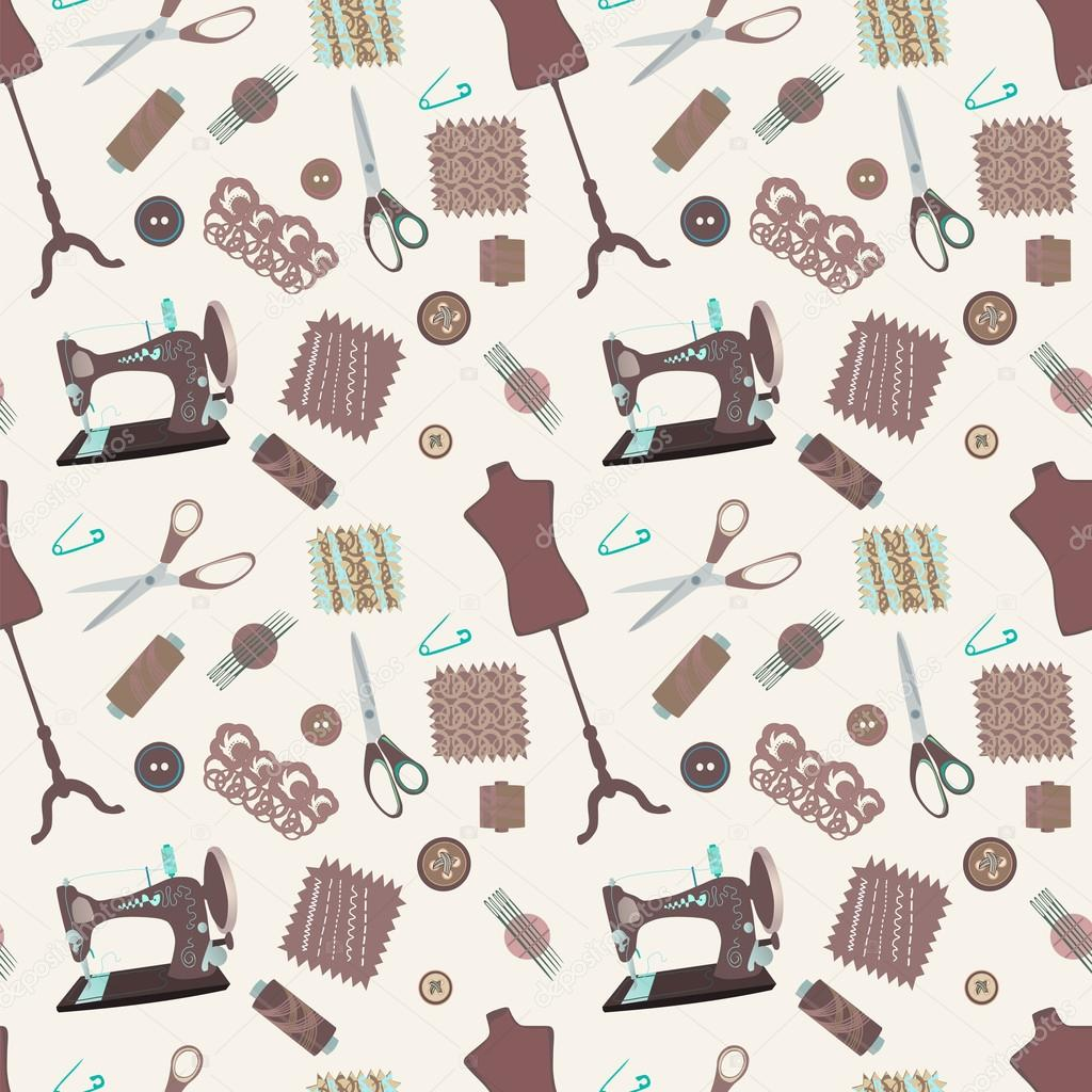 retro de patrones sin fisuras con accesorios de costura — Archivo ...