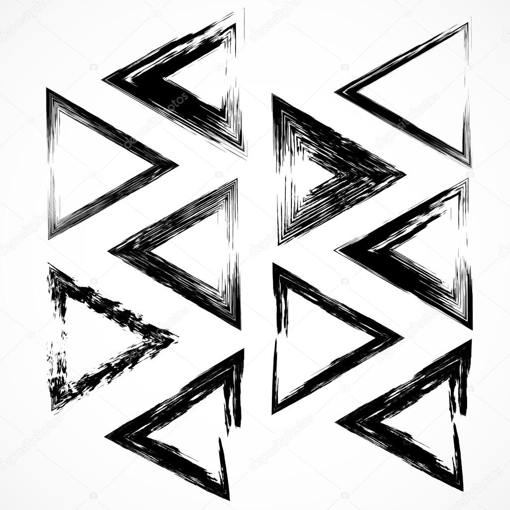 Vector set of grunge triangle brush strokes. — Stock Vector ...