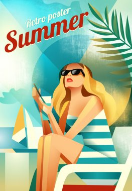 Retro poster with a girl sitting on the beach.