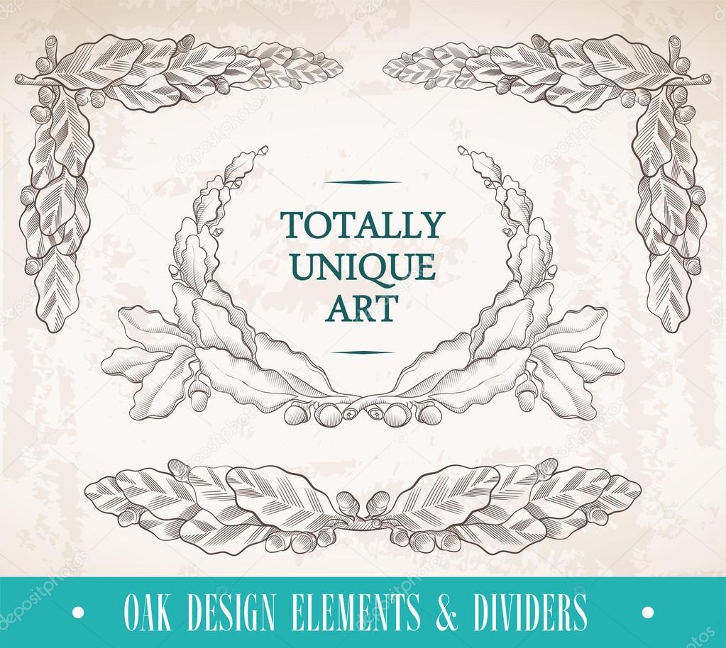 Oak design elements & dividers stock vector