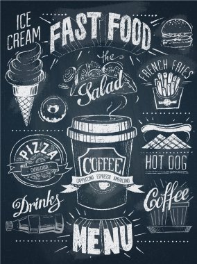 Fast food chalkboard design set stock vector