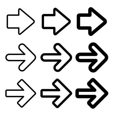 Vector black arrow silhouettes