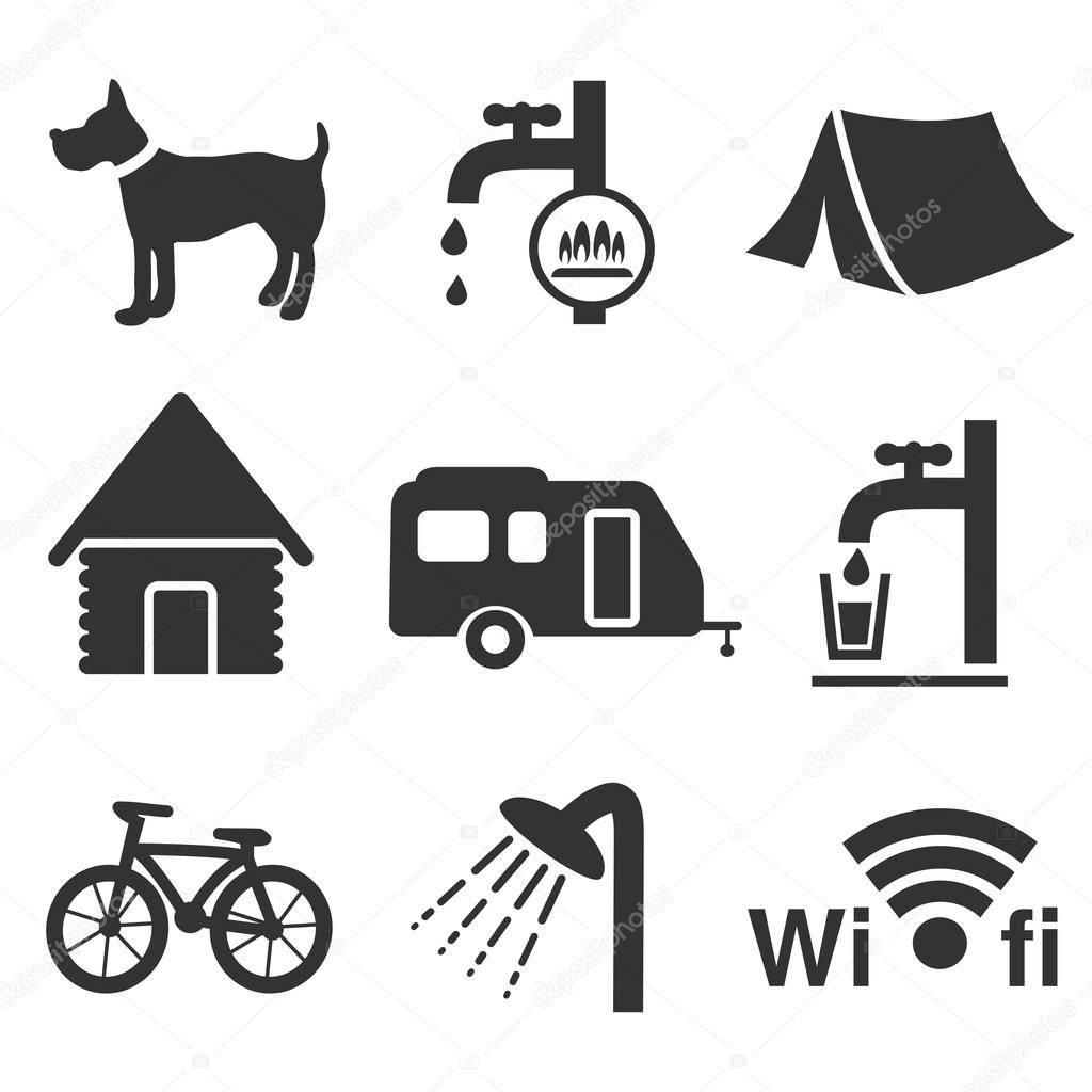 vector camping icons set � stock vector 169 renadesign