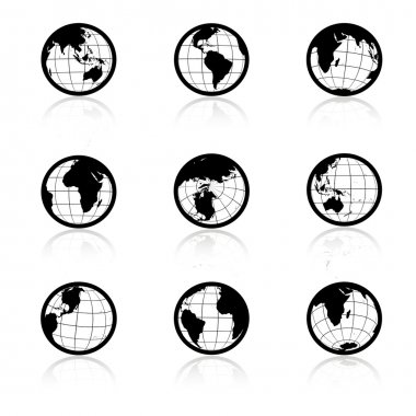 Vector globe symbols - icons of world