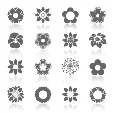 Vector set of blooming flowers with shadow - symbol, icon of flower