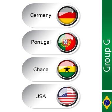 Vector flags - football Brazil, group G - Germany, Portugal, Ghana, USA