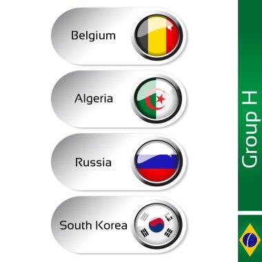 Vector flags - football Brazil, group H - Belgium, Algeria, Russia, South Korea