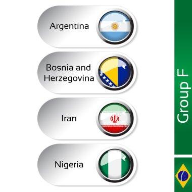 Vector flags - football Brazil, group F - Argentina, Bosnia and Herzegovina, Iran, Nigeria