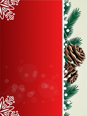 Vector Christmas background, red card with twigs, cones and snowflakes