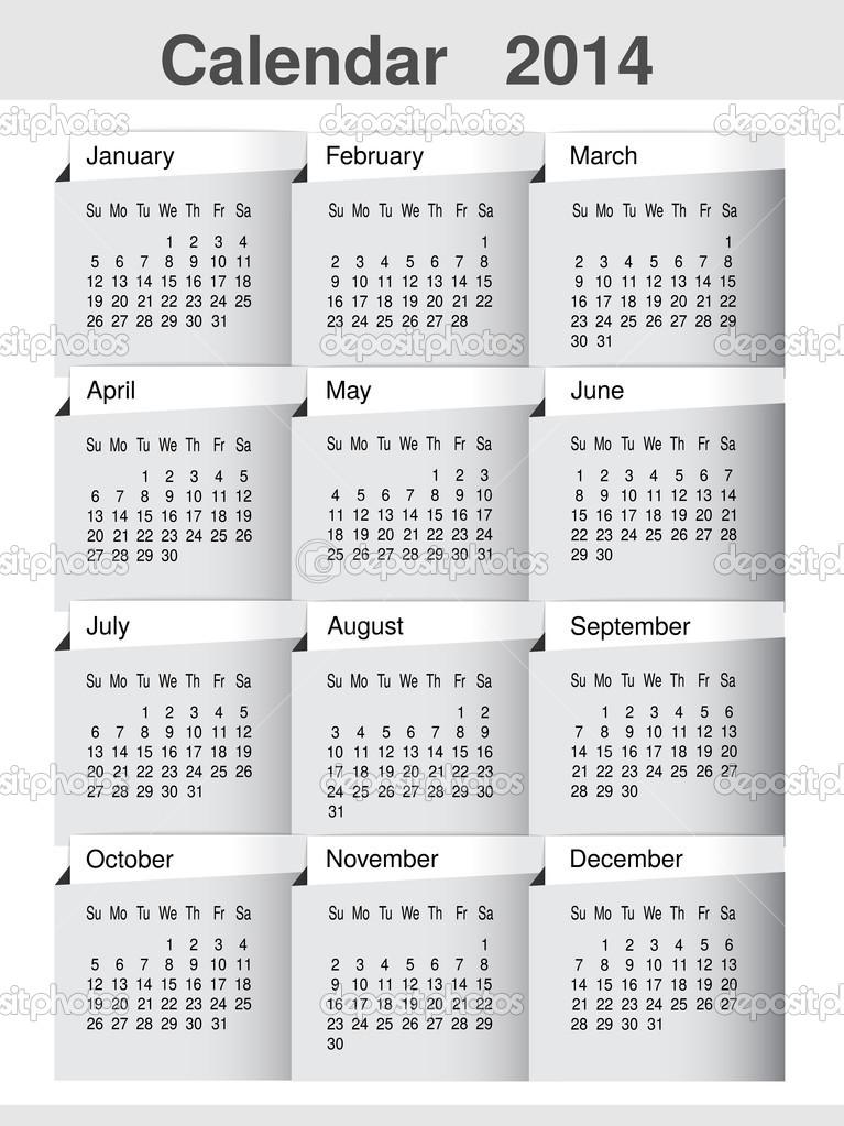 Calendario Anno 2014.Vettoriale Semplice Calendario Anno 2014 Template Pagina Di