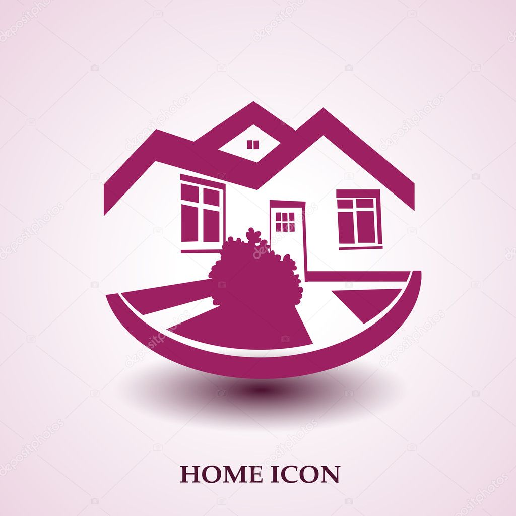 Vector symbol of home house icon realty silhouette real estate modern logo