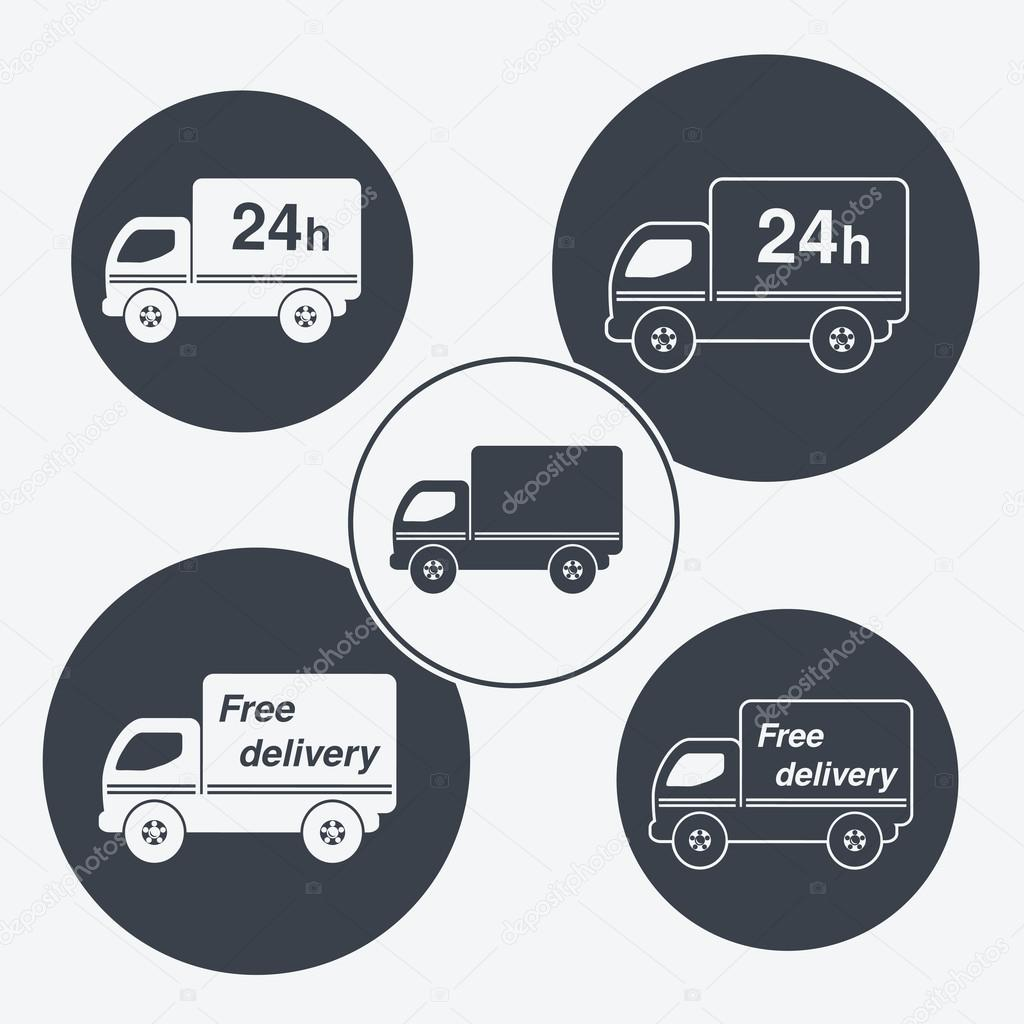 Vector truck symbols - delivery within 24 hours and free delivery ...