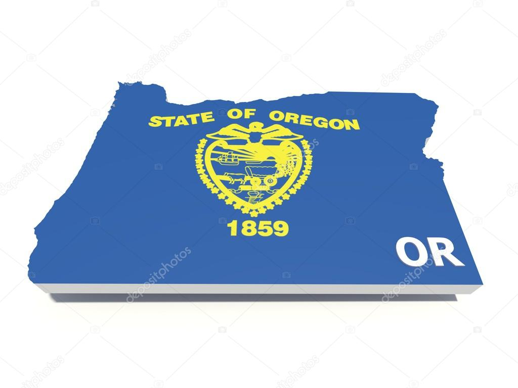 Oregon state flag on 3D map
