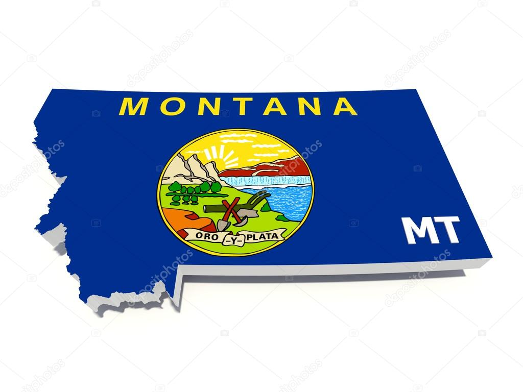 Montana State Flag On 3d Map Stock Po 13367950