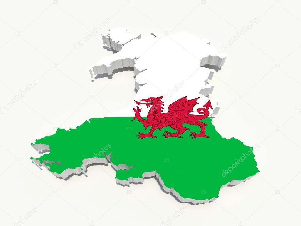 Bandera de Gales mapa 3d — Foto de stock © godard #15183411